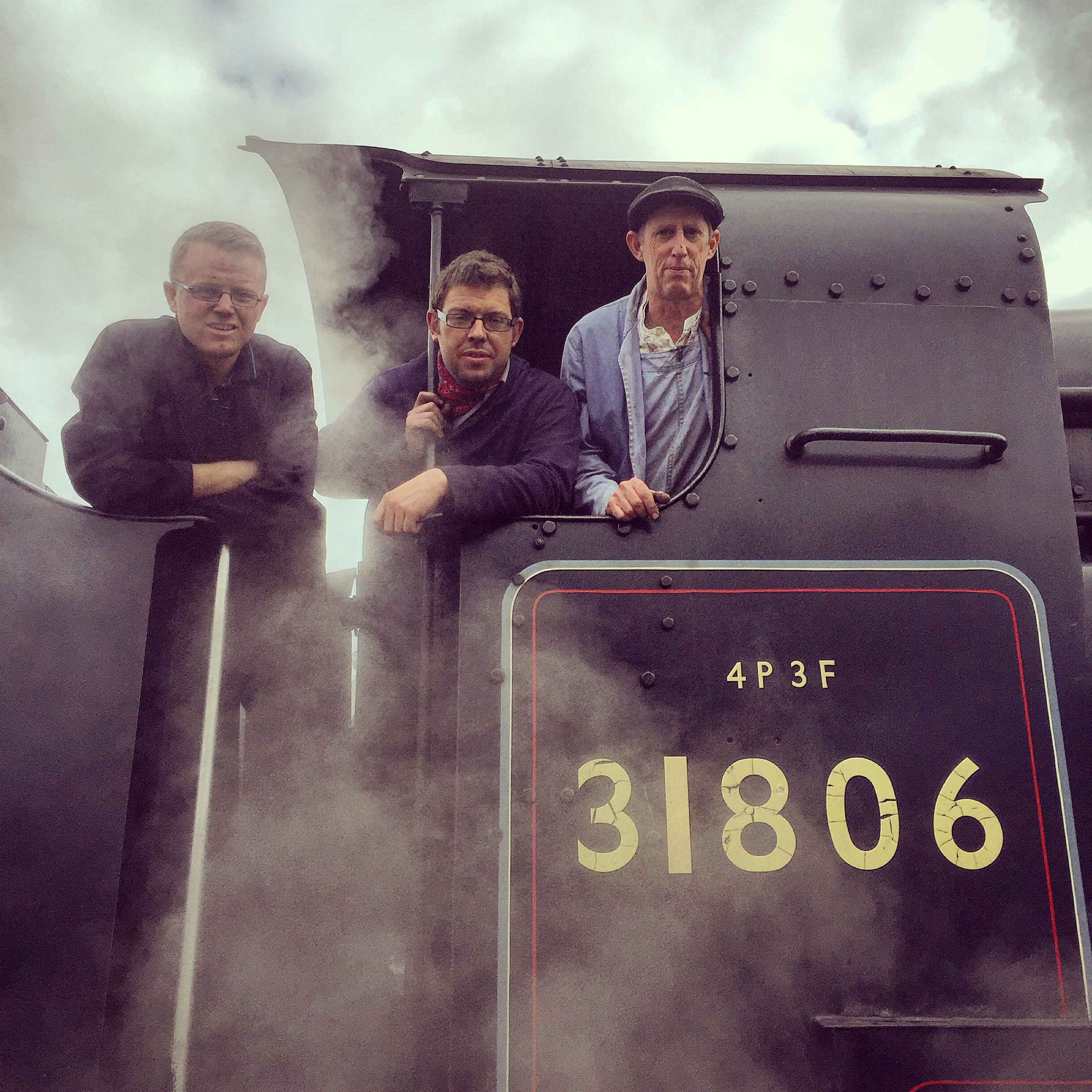 Owners Representative Jack Haynes, Fireman Mark O'Brien and Driver Simon Long at Goathland on 26/09/15.