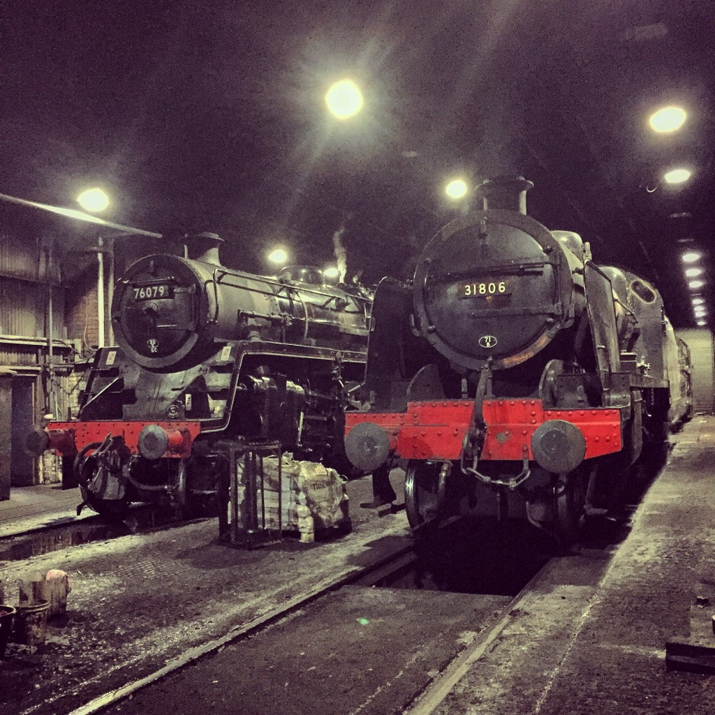 76079 and 31806 stand in Grosmont Shed on 26/09/15.
