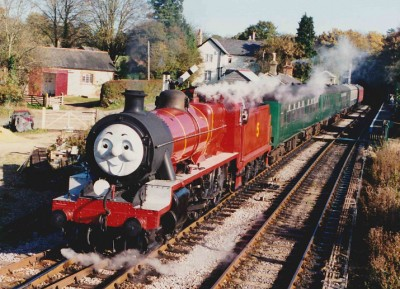 31874 as James the Red Engine departing Medstead on a Thomas The Tank day. James Bunch Collection