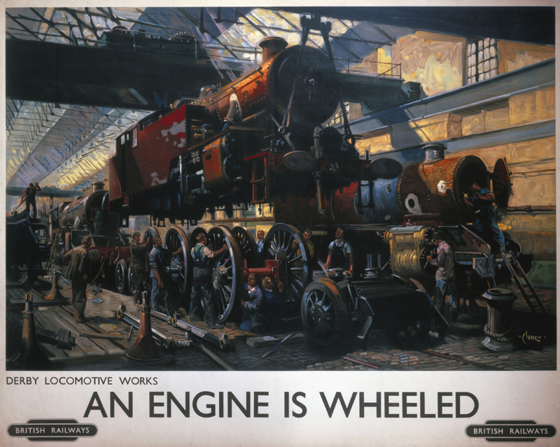 Poster produced for British Railways (BR), showing labourers installing wheels on a steam locomotive at the Derby Locomotive Works. Artwork by Terence Cuneo, son of the artists Cyrus and Nell Cuneo. He studied at the Chelsea and Slade Art Schools and in addition to a long career designing railway posters, he also painted portraits (including royal portraits) and ceremonial and military subjects.